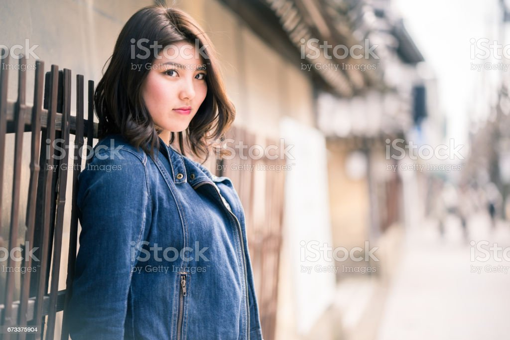 Woman in Kyoto stock photo
