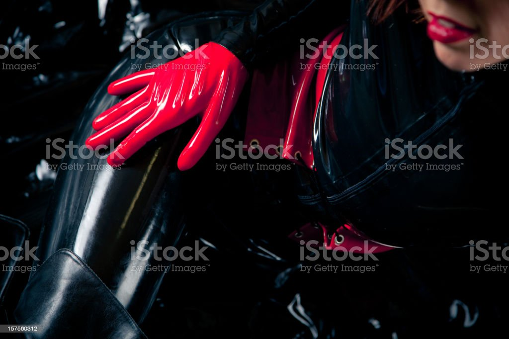 woman in latex catsuit royalty-free stock photo