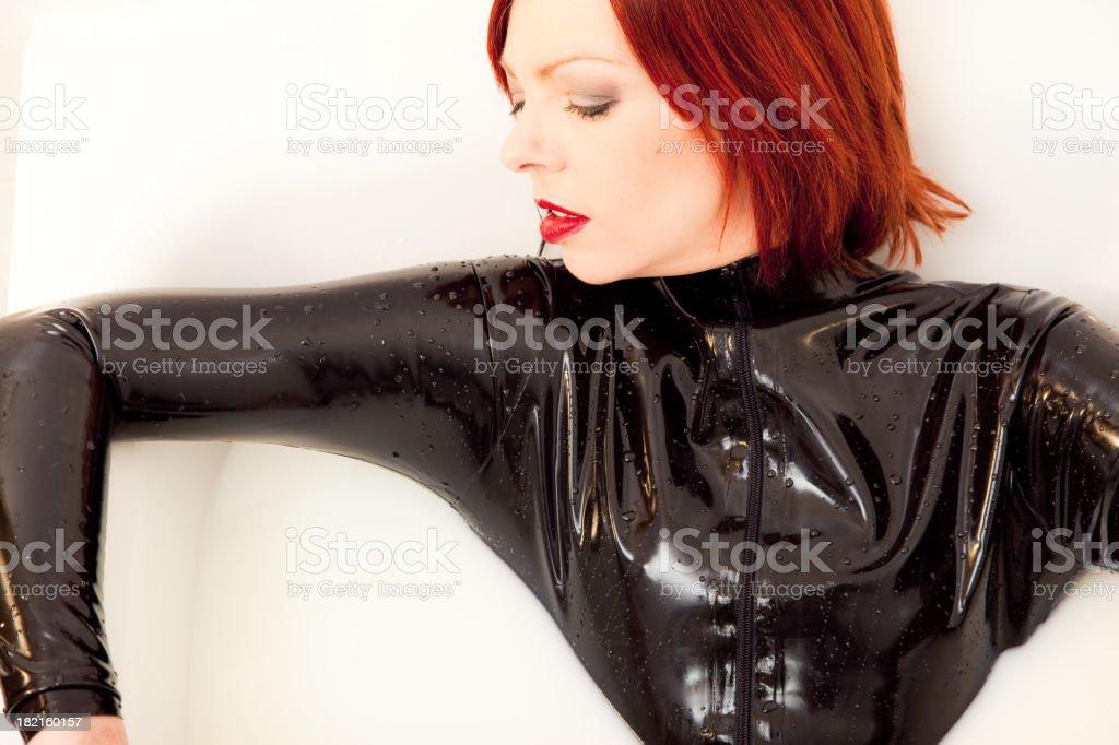 Girl latex catsuit latex clothing
