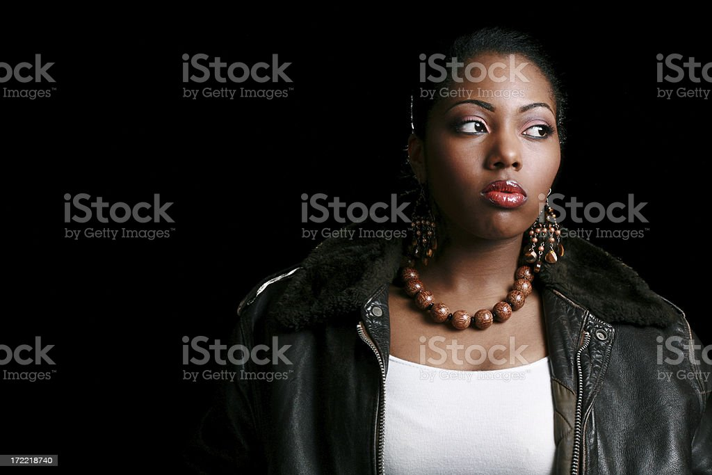 Woman in Leather stock photo