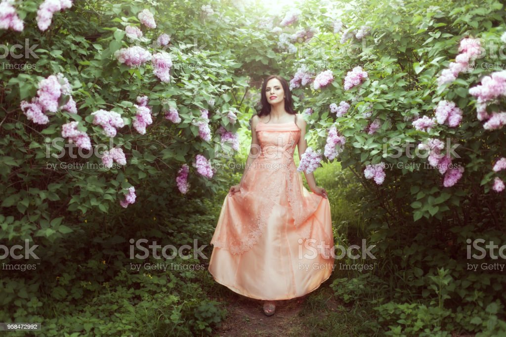 Woman in lilac bushes. stock photo