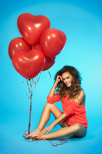Woman In Lingerie Holding Red Heart Shaped Balloons Stock Photo - Download Image Now