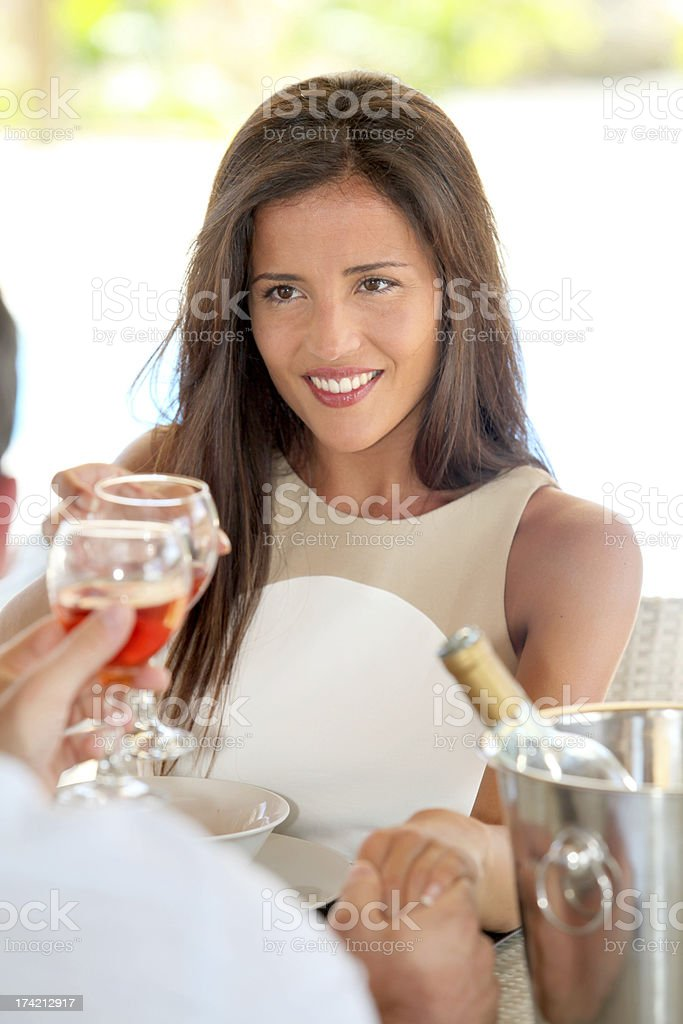 Woman in love looking her husband at restaurant royalty-free stock photo