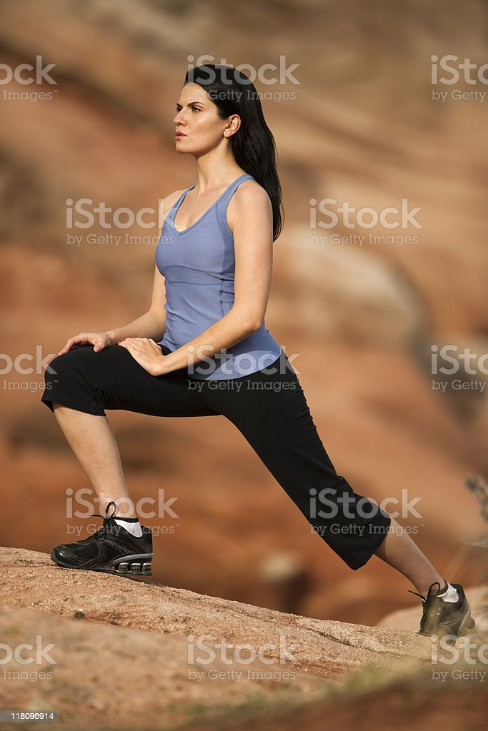 Woman in Lunge Position royalty-free stock photo
