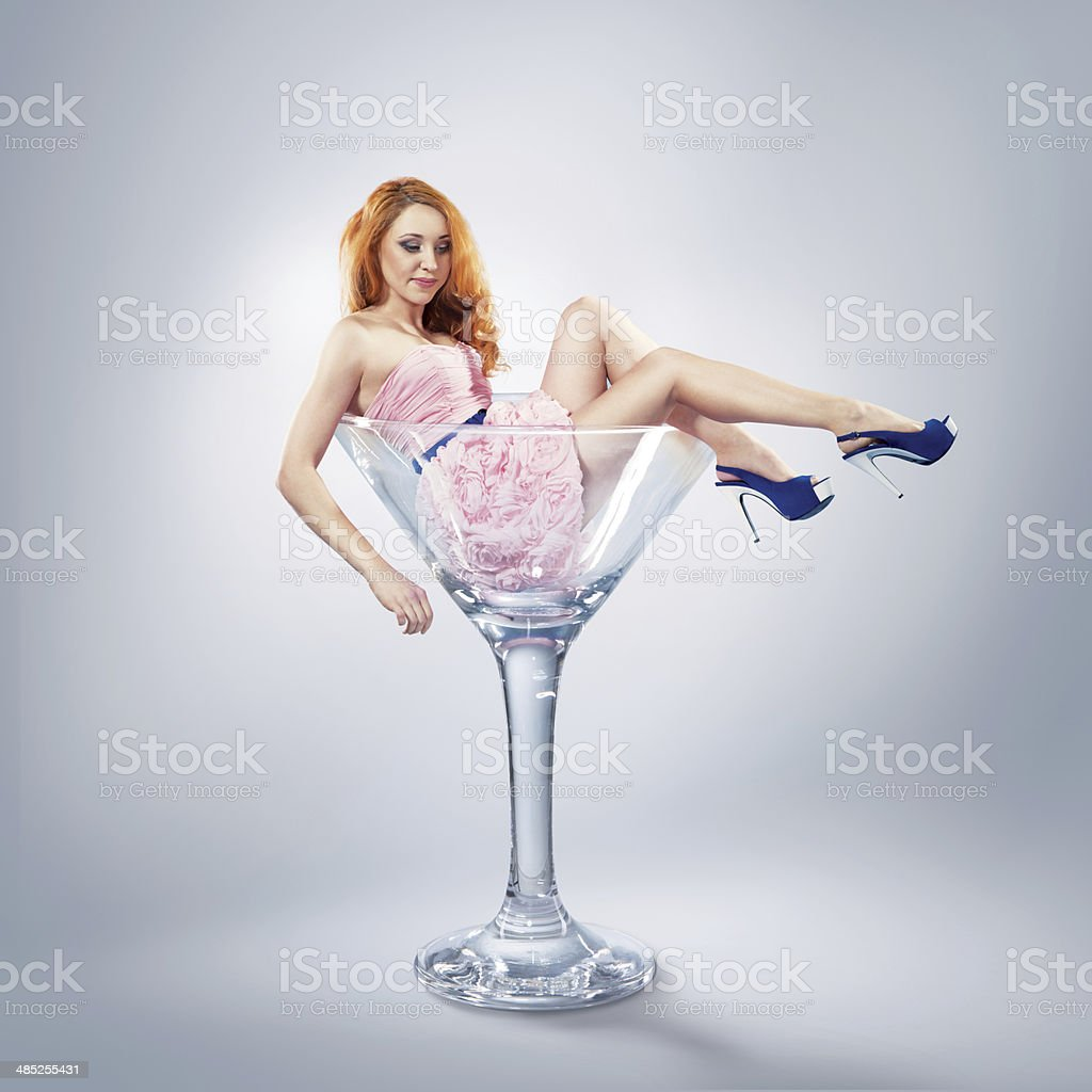 Woman in Martini Glass royalty-free stock photo
