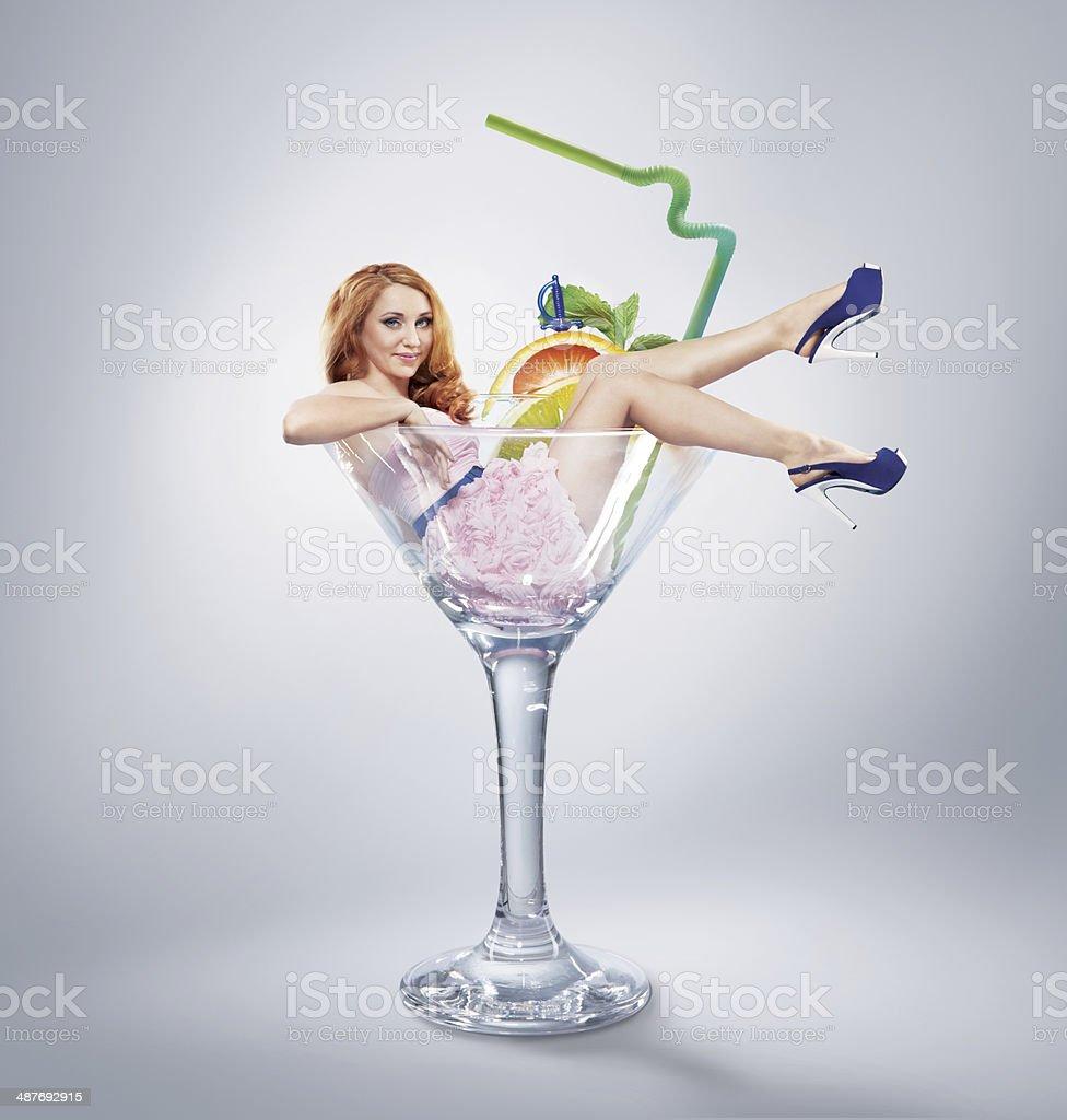 Woman in Martini Glass - Stock Image stock photo