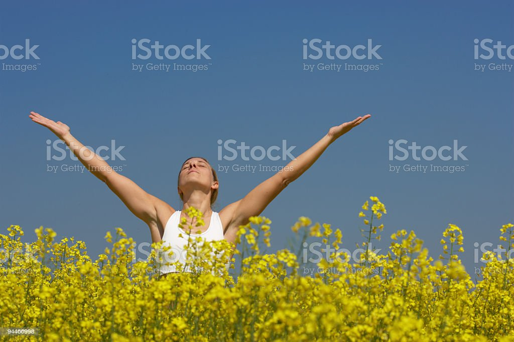 woman in meditation royalty-free stock photo