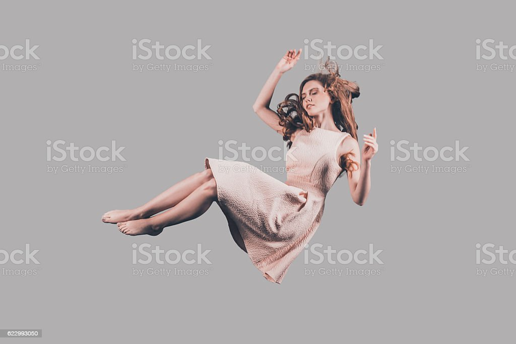 Woman in mid-air. stock photo