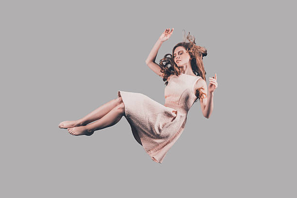woman in mid-air. - on air stock photos and pictures