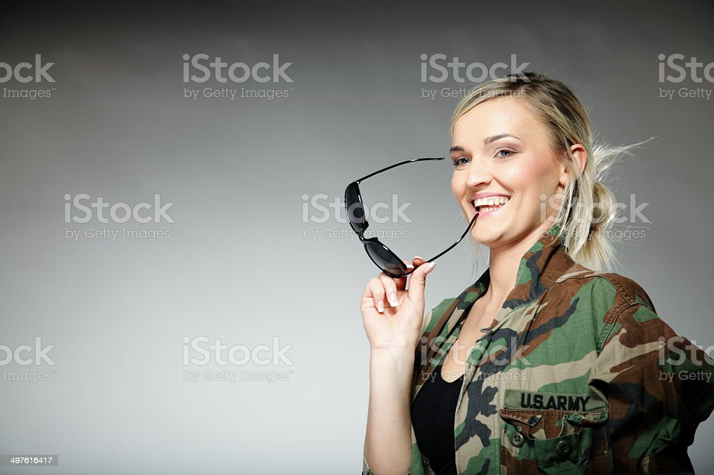 woman in military clothes, army girl royalty-free stock photo