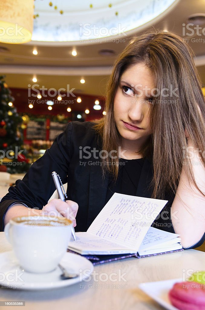 woman in modern cafe stock photo