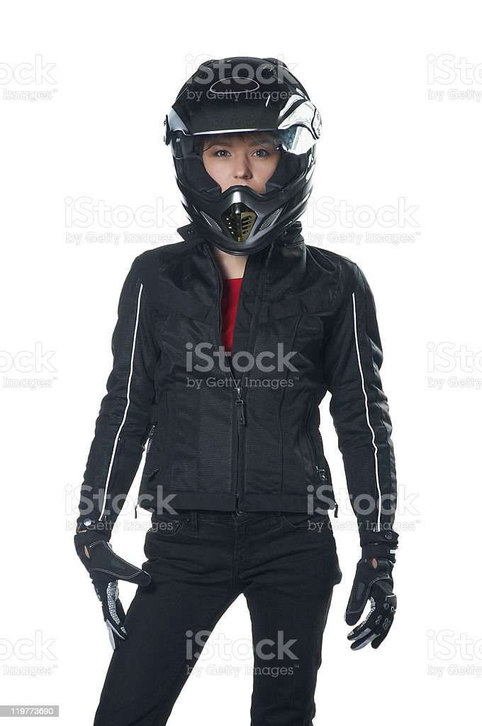 Woman in motorcycle clothing stock photo