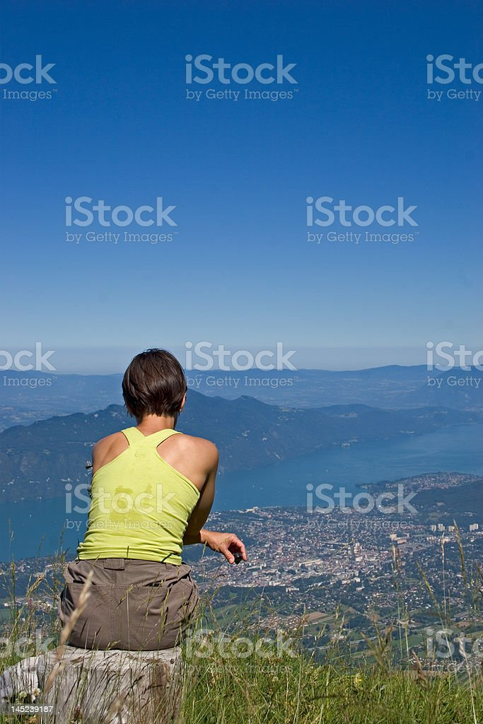 woman in mountain royalty-free stock photo