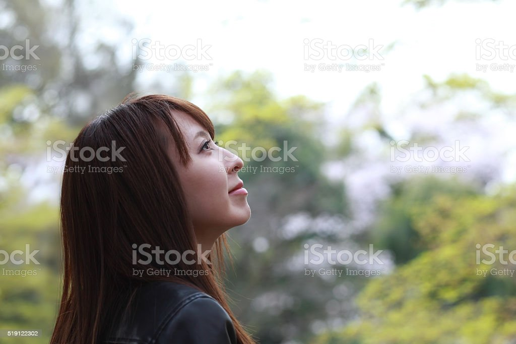 woman in nature stock photo