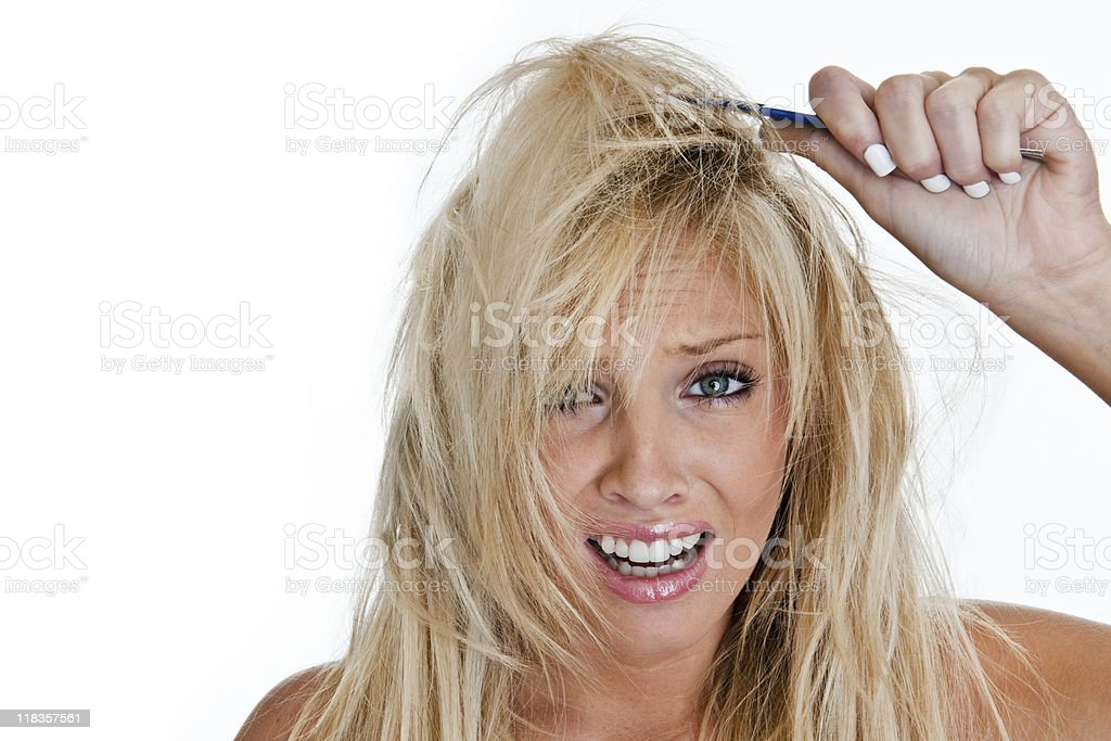 Woman in need of professional hairdresser royalty-free stock photo