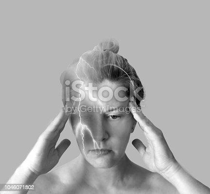 491747470 istock photo Woman in pain. Double exposure 1046071802