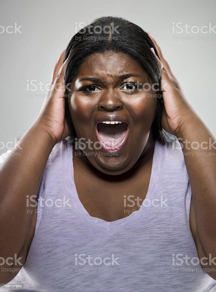 Woman in panic stock photo