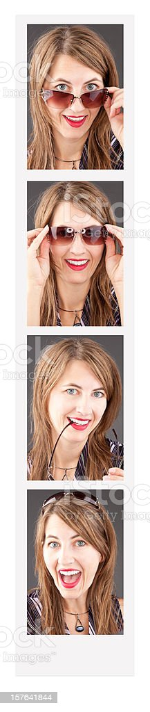 Woman In Photo Booth stock photo