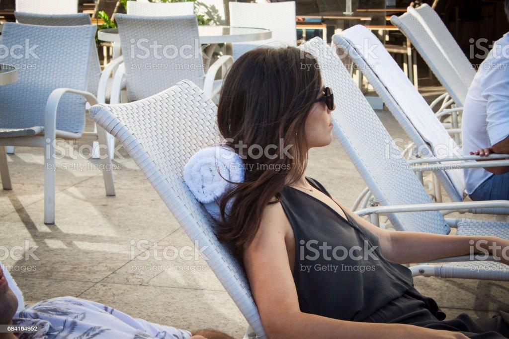 Woman in Poolside - Rio de Janeiro royalty-free stock photo