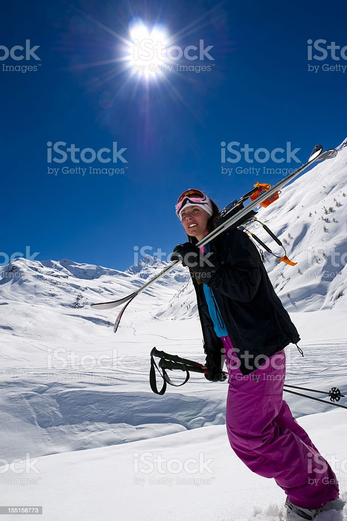 Woman in powder snow royalty-free stock photo