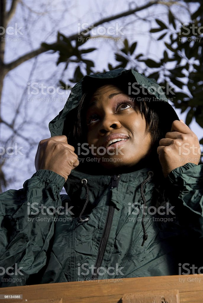 Woman in Raincoat royalty-free stock photo