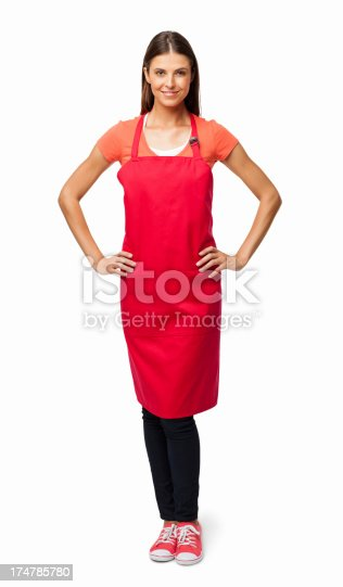 istock Woman In Red Apron - Isolated 174785780