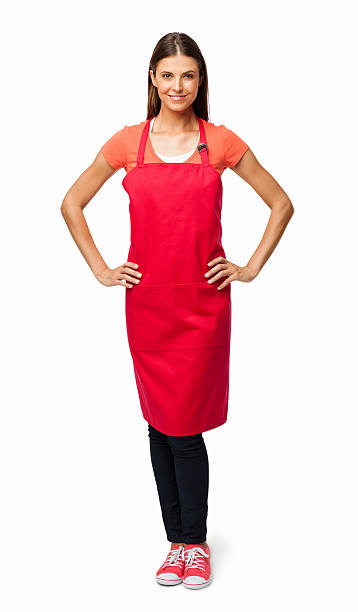 woman in red apron - isolated - apron stock pictures, royalty-free photos & images