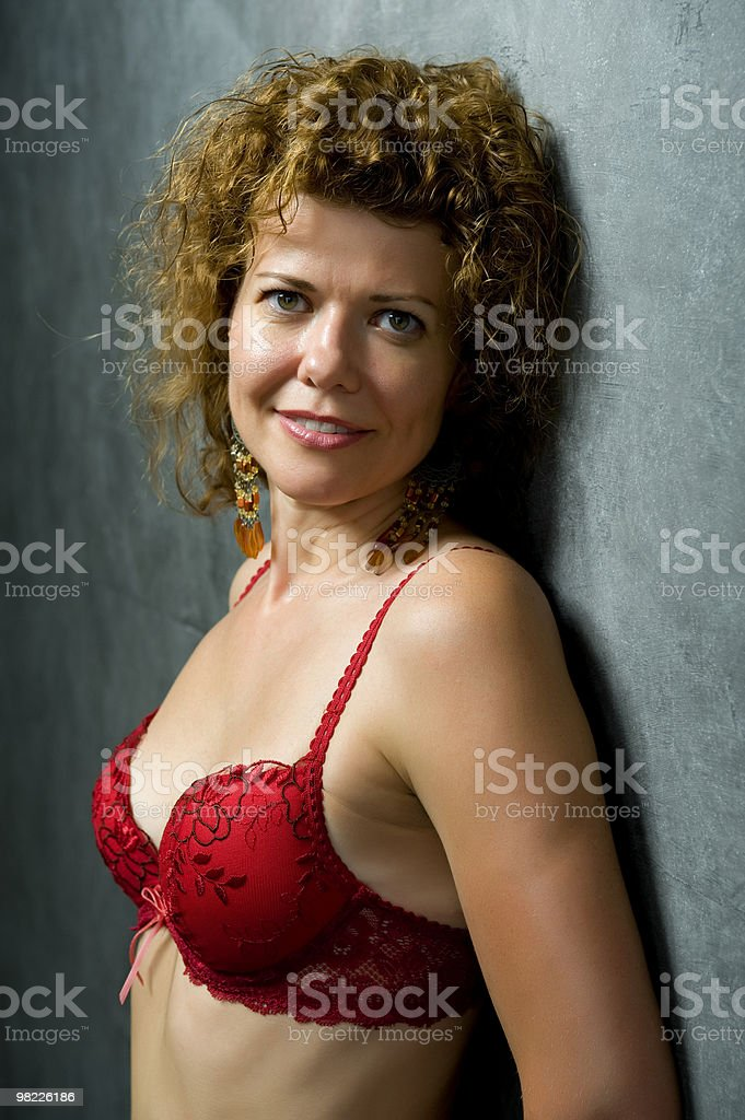 woman in red brassiere closeup royalty-free stock photo