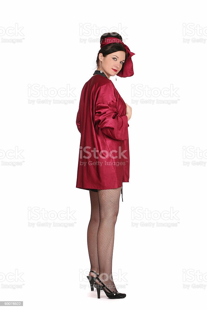 woman in red clothes royalty-free stock photo