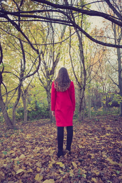 WOman in red coat facing away in a beautiful autumnal forest stock photo