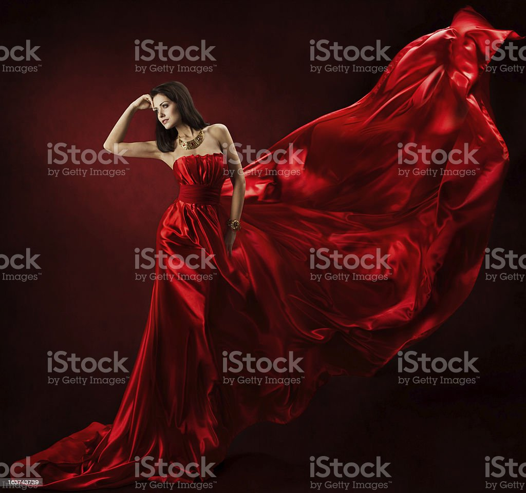 Woman in red dress stock photo