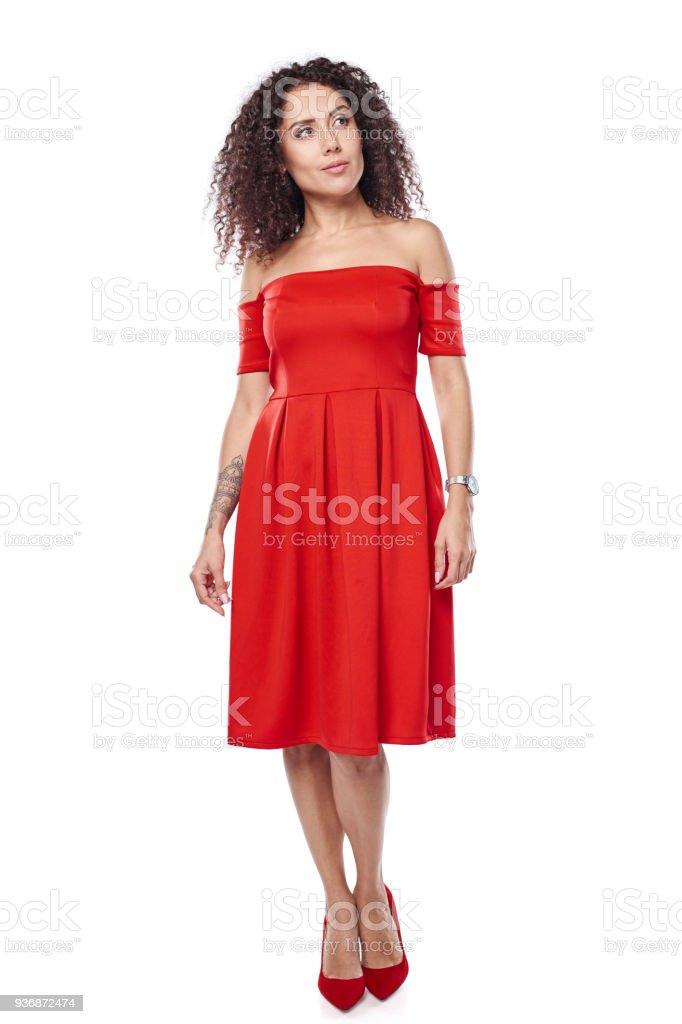 Frau im roten Kleid – Foto