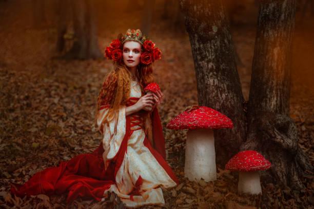 frau im roten kleid mittelalter - prinzessinnenstil stock-fotos und bilder