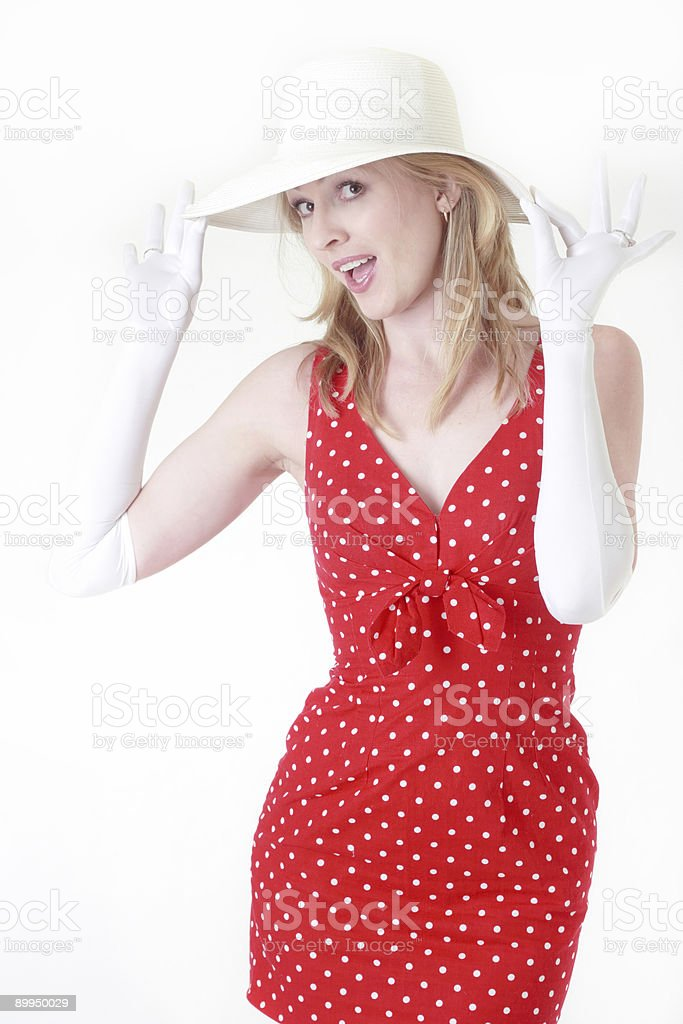 Woman in red polka dot dress royalty-free stock photo
