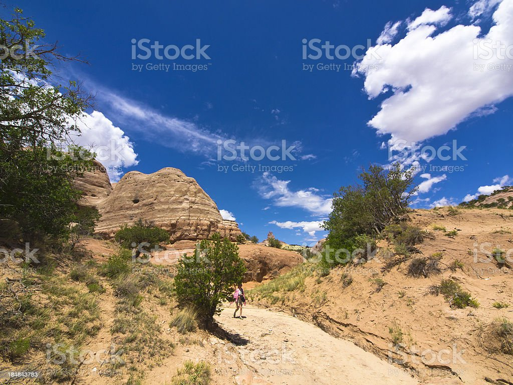 Woman in Red Rock stock photo
