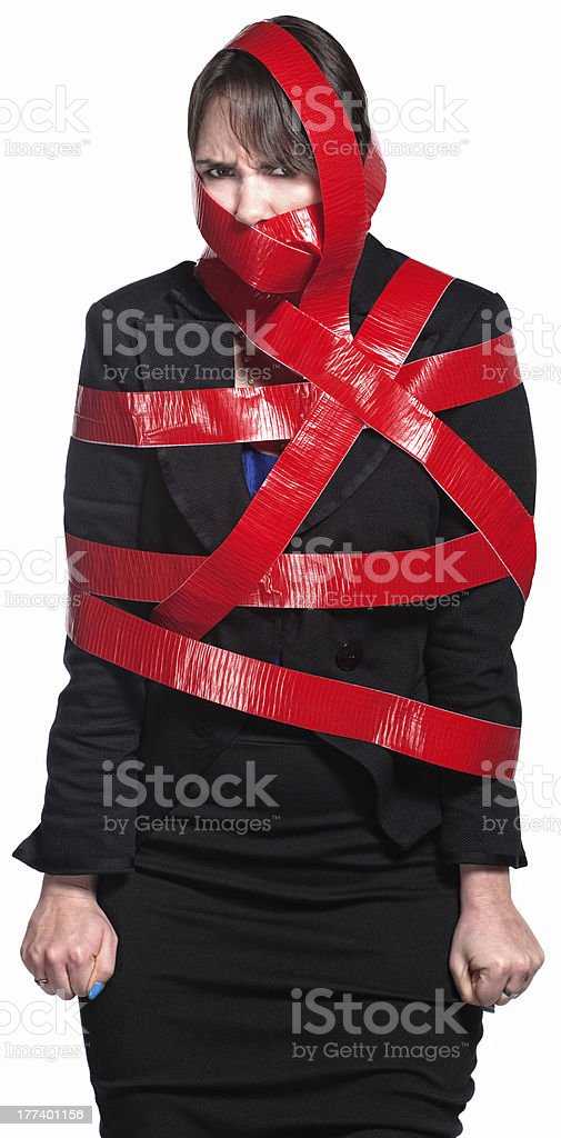 Woman in Red Tape stock photo