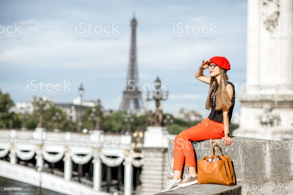 Woman in red traveling Paris stock photo