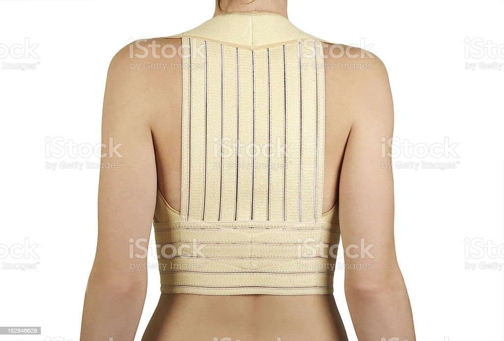 woman in remedial corset for posture correction royalty-free stock photo