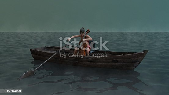 In the middle of a vast and misty body of water, a woman sits on a chair in a rowboat, playing the cello. This image can illustrate a very diverse range of concepts.