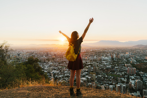 Woman In Santiago At Sunset Stock Photo - Download Image Now