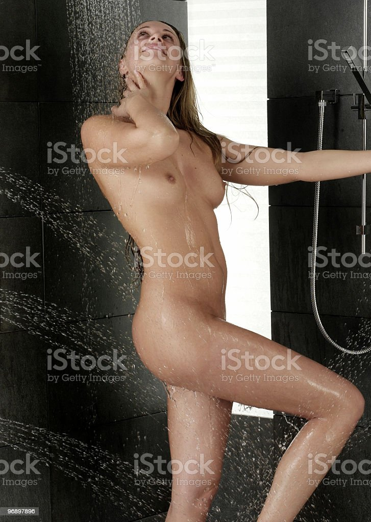 woman in schower royalty-free stock photo