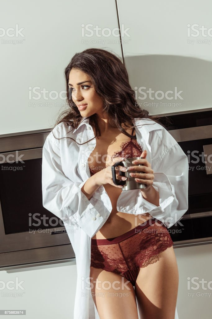 795b549ba445 Woman In Sexy Lingerie With Coffee Stock Photo   More Pictures of ...