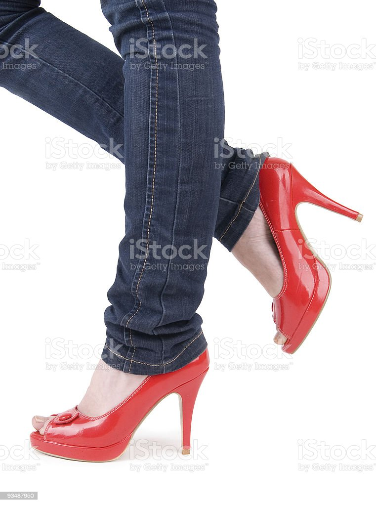 Woman in sexy red shoes royalty-free stock photo