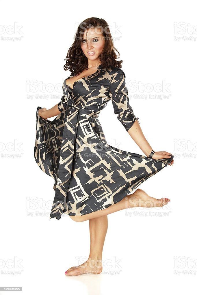 Woman in short dress royalty-free stock photo