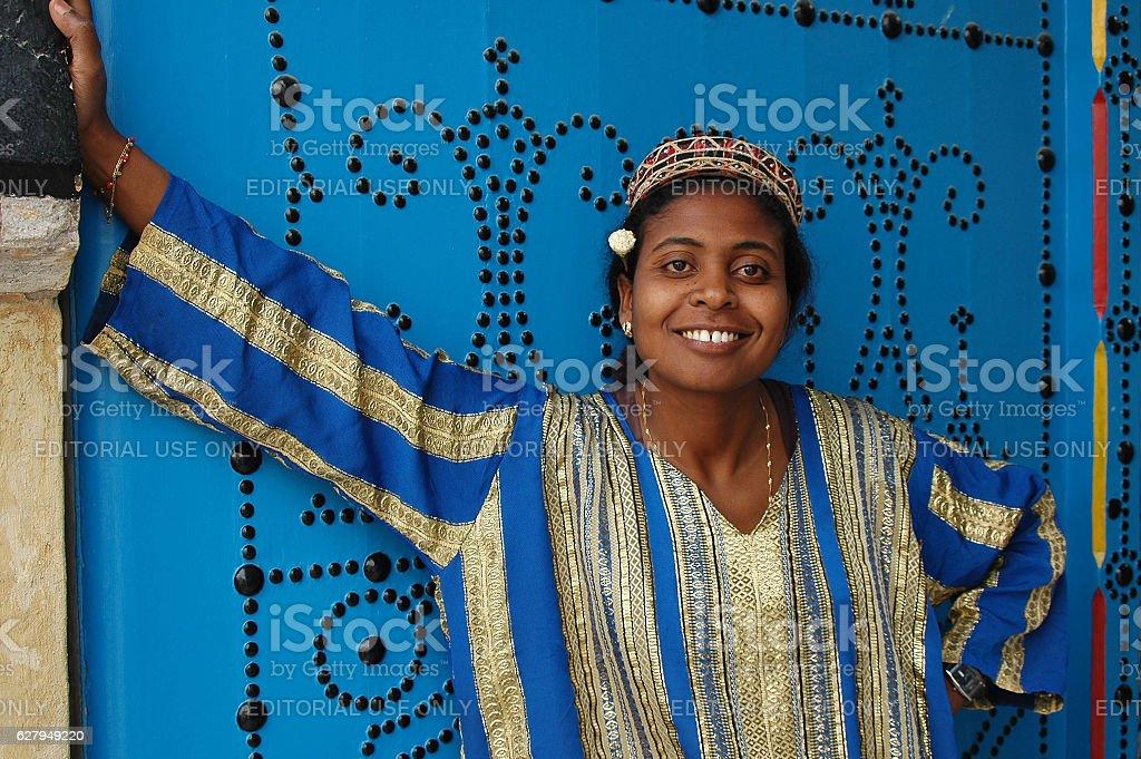 Woman in Sidi Bou Said - foto de stock