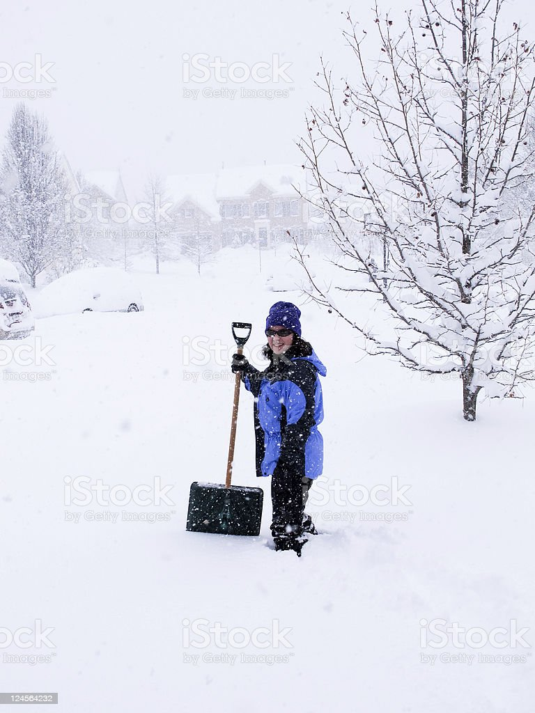 Woman in snow storm royalty-free stock photo