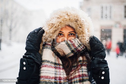 Woman in snowy winter