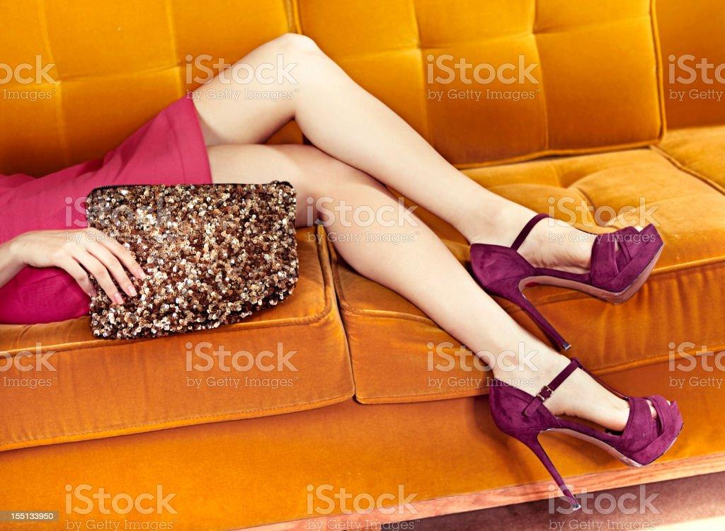 Woman in sofa stock photo