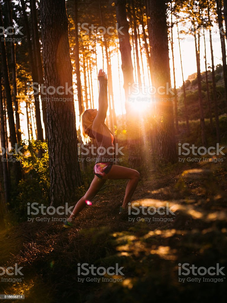 Woman in sports wear performing yoga pose in morning forest stock photo