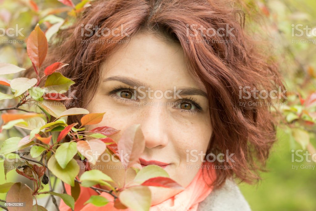 Woman in Spring Park stock photo